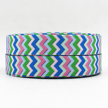 Q&N ribbon 150519003 7/8inch 22mm chevron Printed OEM grosgrain ribbon 50yds/roll