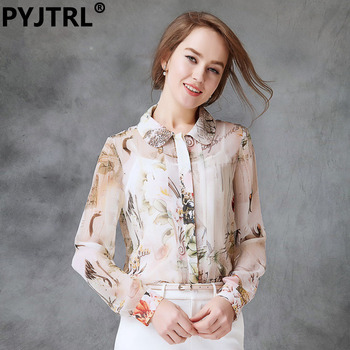 Women's Real Silkworm Silk Spring Blouse Fashion OL Long Sleeve Print Shirts Shirt Women Tops