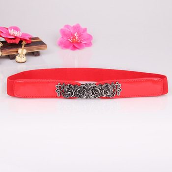 HooltPrinc New design all-purpose Waist sealing rose buckle Faux Leather belt Retro elastic waistband dress accessories